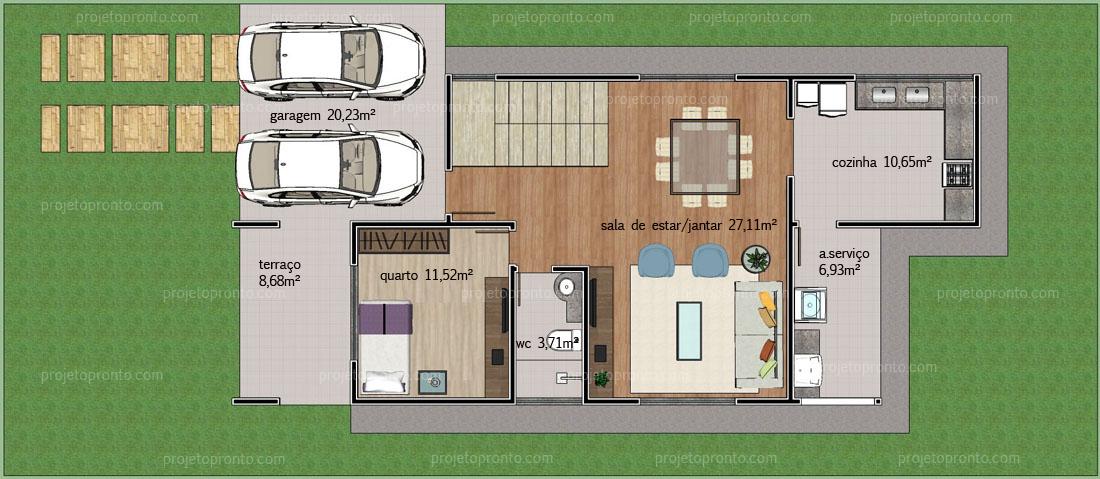 Amado Projeto Pronto | Casa Duplex - 2 quartos - P02 VJ19