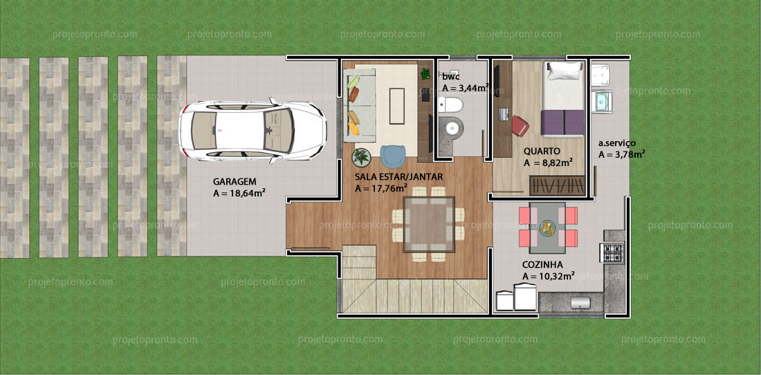 Muito Projeto Pronto | Casa Duplex - 3 quartos - 2 suítes - P05 FZ18