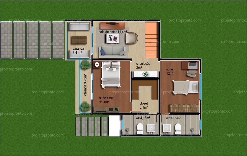 Projeto Pronto Casa Duplex 2 Quartos 2 Su 237 Tes P16