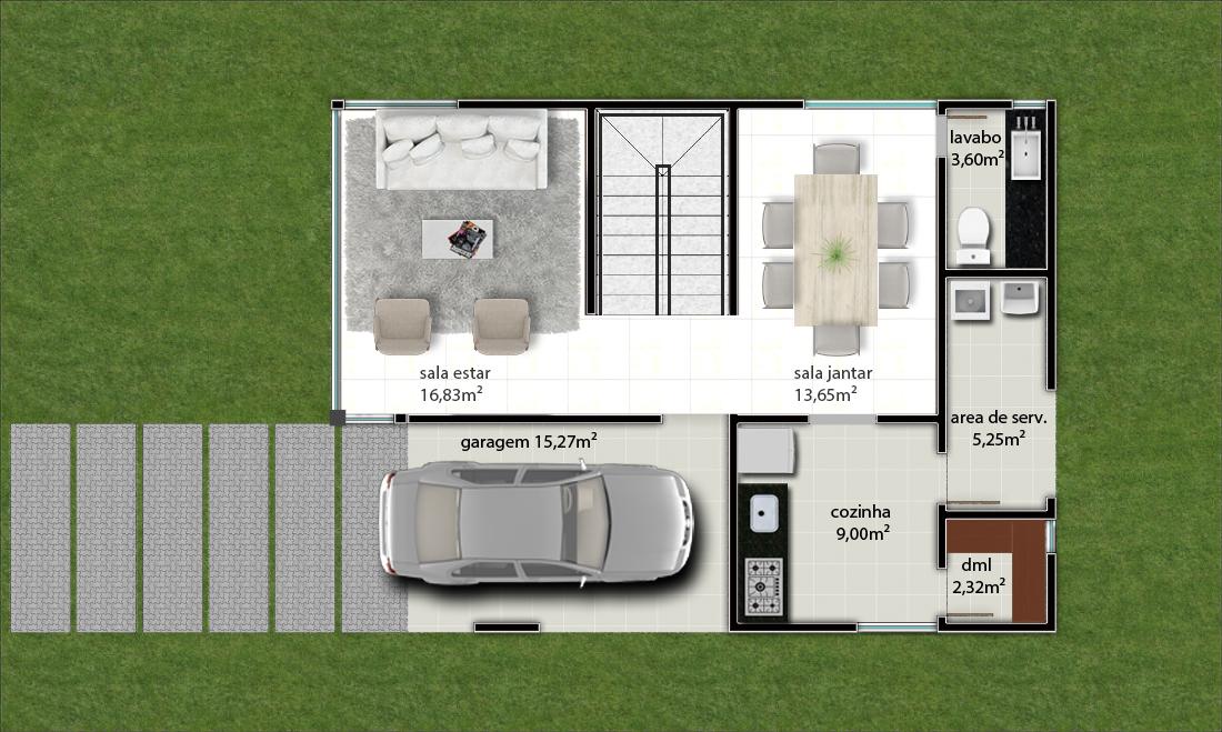 Suficiente Projeto Pronto - Projetos de Casas | Plantas para Construir  NR39