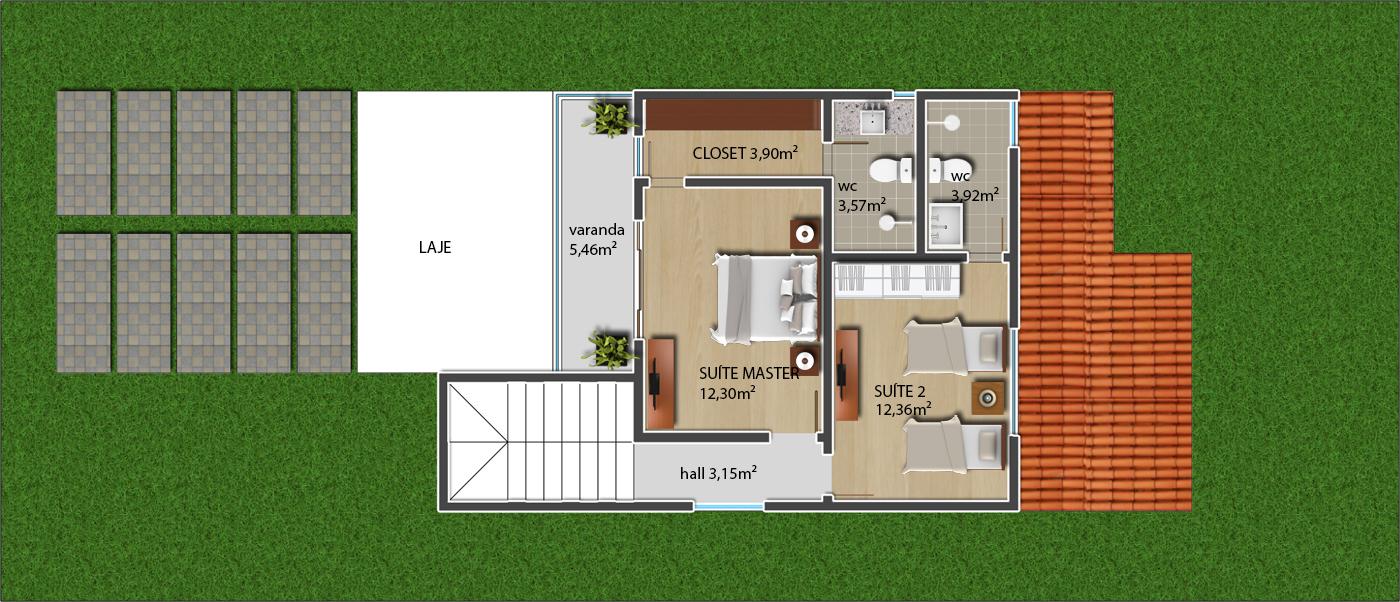 Projeto pronto casa duplex 3 quartos 3 su tes p23 for Tipos de terreno