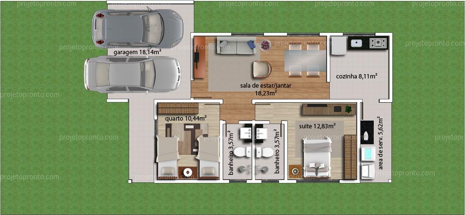 Fabuloso Projeto Pronto - Projetos de Casas   Plantas para Construir  OY38