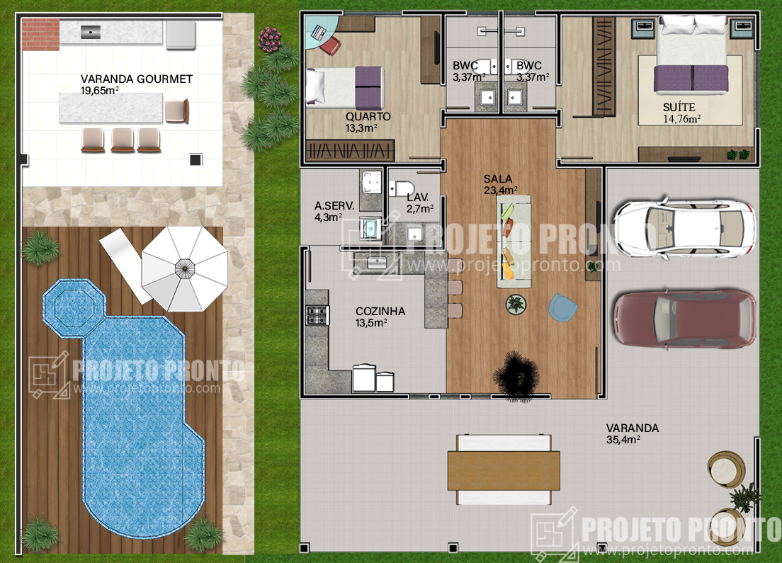 Projeto Pronto Casa T Rrea 2 Quartos 2 Suites T07
